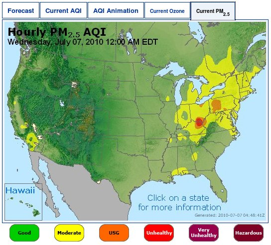 AirNow PM 2.5 readings for America 0707/2010 12 AM
