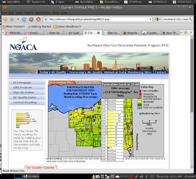 Broken Cleveland air quality monitoring from NOACA - July 29, 2010
