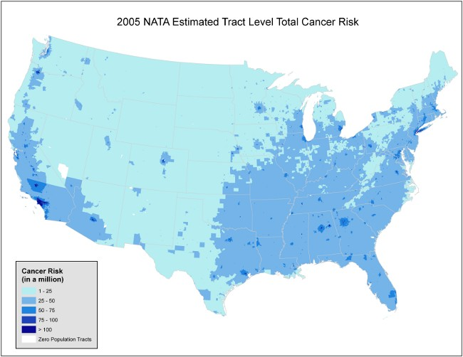EPA's 2005 National Air Toxins Assessment human cancer risk from estimated, chronic inhalation exposures based on emissions data from the 2005 National Emissions Inventory for hazardous air pollutants, assuming these emissions remain constant throughout one's lifetime