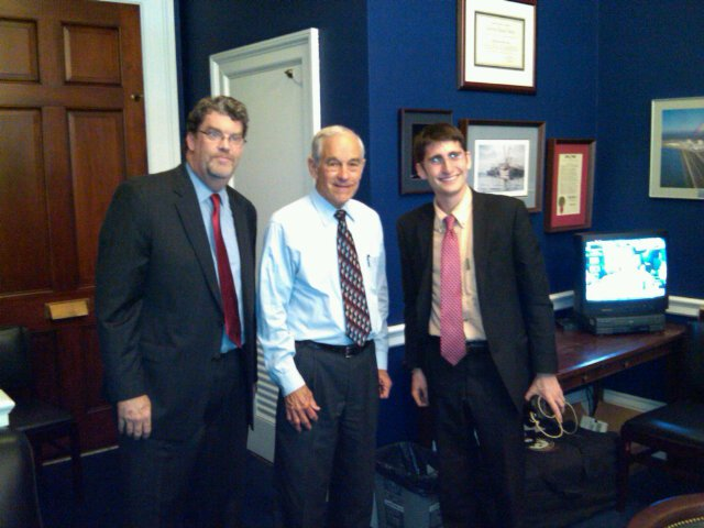 Vote Hemp President Eric Steenstra, Ron Paul and Vote Hemp lobbyist Ben Droz pose for the record on new hemp farming bill.