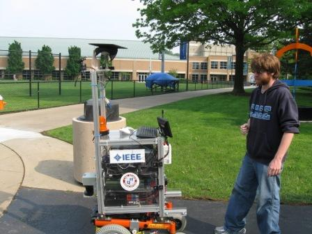 Case student working on a robot