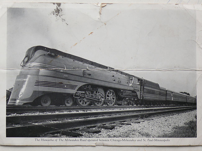 image of 1946 post card of Hiawatha locomotive 12.30.10 jeff buster