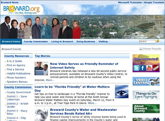 Broward County homepage February 28, 2011