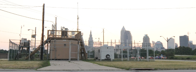 Broken Air Pollution Monitoring Station in Cleveland, Ohio, on an UNHEALTHY DAY