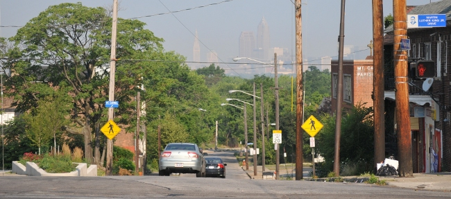 Cleveland in sea of smog, viewed from the Heights 07/08/2010
