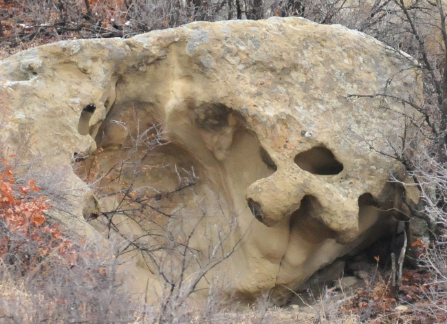 Detail of rock formation at base of Archuleta Mesa, Jicarilla Apache Reservation, Dulce, New Mexico