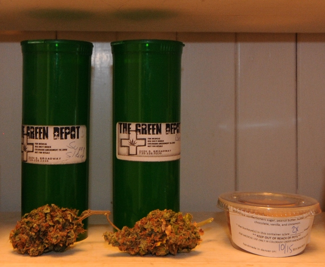 Medicinal Marijuana and edibles samples from Green Depot, Denver, Colorado