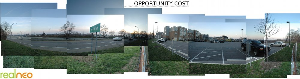 """Opportunity Cost"" REALNEO Header featuring Mittal Cleveland Works and I-490 pollution - planned to increase with construction of Federally subsidized ""Opportunity Corridor"" freeway extension, adjacent to new Federally subsidized public housing that places residents at risk of genetic mutation, Alzheimer's, asthma, cancer and other health hazards - does this make sense?"
