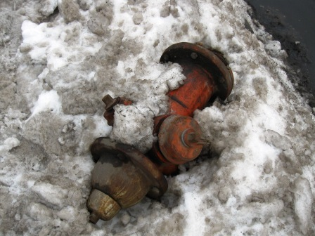Broken fire hydrant at Pearl and Denison 500 yards from school