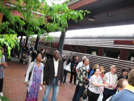 Passengers boarding Scenic Railroad in Cumberland MD