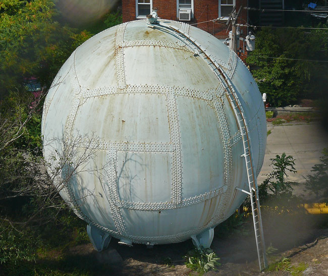 horton sphere poughkeepsie gas surge tank pressure vessel riveted steel geodesic dome puzzle