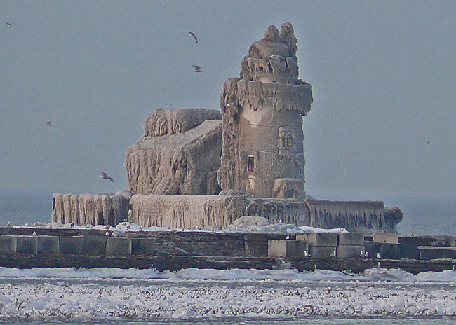 Cleveland light house on Cuyahoga in lake erie ice image jeff buster 12.30.10