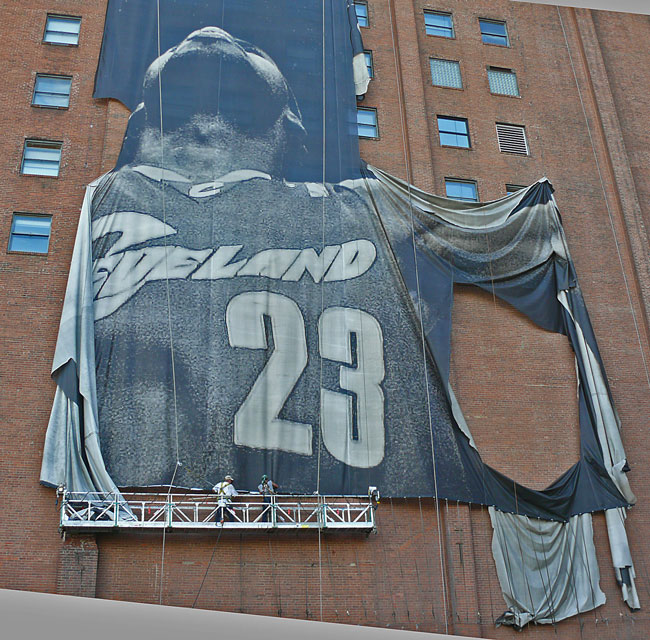 Labron James Nike sign removed Cleveland Ohio image jeff buster 7.11.10