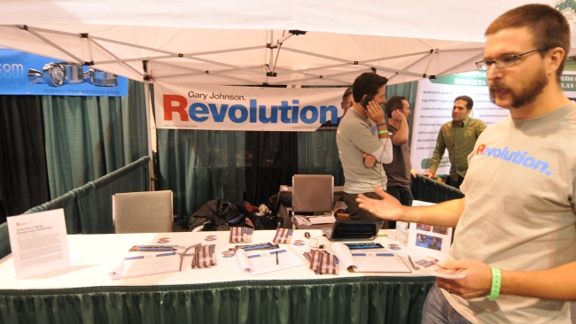 Gary Johnson for President Revolution booth at HempFest2