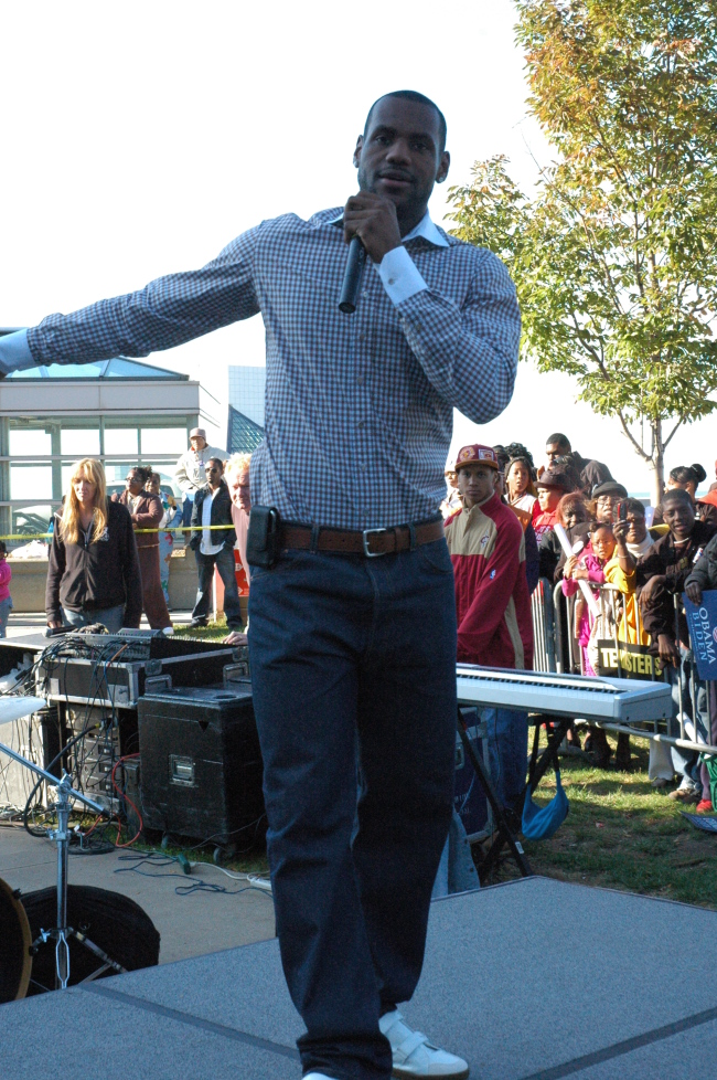 LeBron James promoting voting at a Russell Simmons Get Out The Vote Rally in Cleveland Ohio