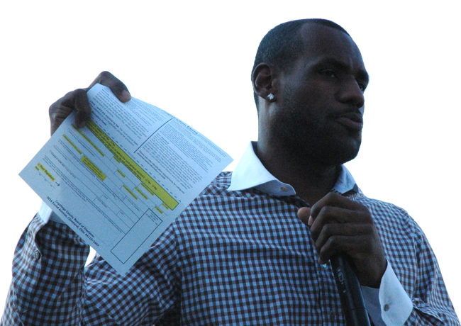 LeBron James with Voter Registration at Russell Simmons Super Jam Get Out The Vote Rally for Obama, Cleveland Ohio