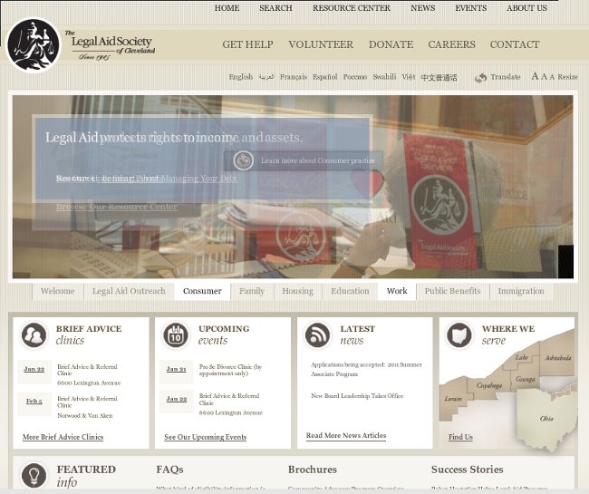 Legal Aid Society of Cleveland Website Home Page