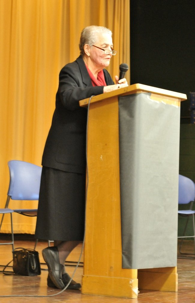 Cincinnati Civil Rights leader Marian Spencer speaking at Taft STEM Elementary School MLK Day 2011