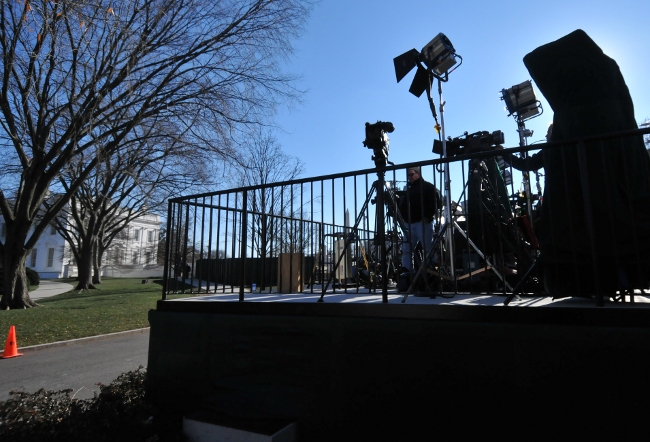 White House (in background) Media Staging Area and Media Stage at North West Gate