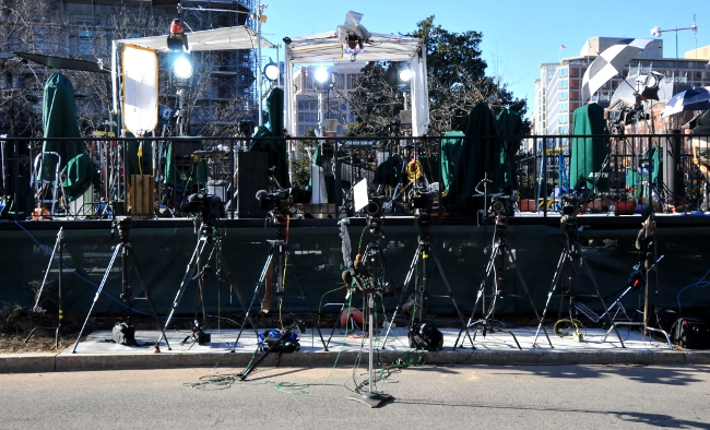 President Obama's view of the Media Stage when he speaks from the White House driveway