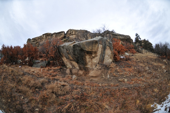 Rock formation at base of Archuleta Mesa, Jicarilla Apache Reservation, Dulce, New Mexico