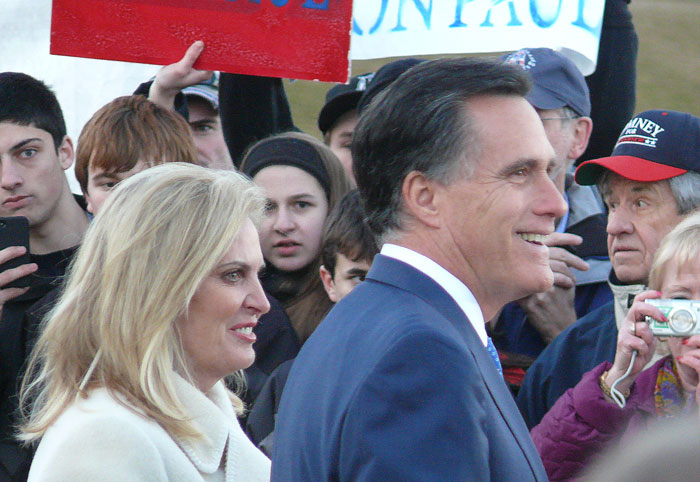 mitt romney after primary voting in belmont mass with wife anne