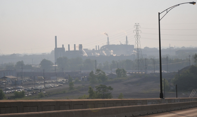 Cleveland Flats in sea of smog from Mittal Steel - 8am 07/08/2010