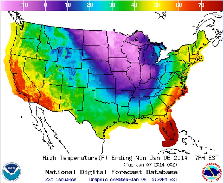 Noaa Temperature Map Of Us