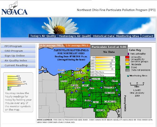 NOACA PM 2.5 1-hour average air pollution monitoring results for 9AM 07/80/2010