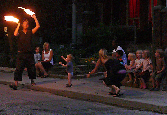mark pemberton fire eater dancer perfomer leslieville toronto canada image 8.19.10 jeff buster neighborhood engagement