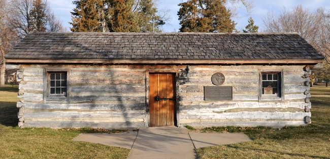 Original Pony Express station - log cabin in Gothenburg, Nebraska, circa 1854