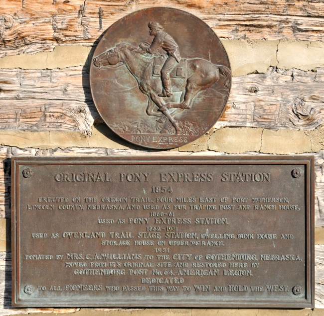 Dedication signs at historic 1854 Pony Express Station in Gothenburg, Nebraska
