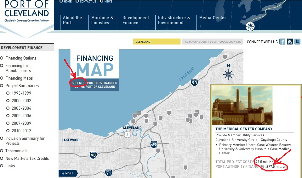 Cleveland cuyahoga county port authority map of bond investments omits myers university square parking garage vote no on issue 108