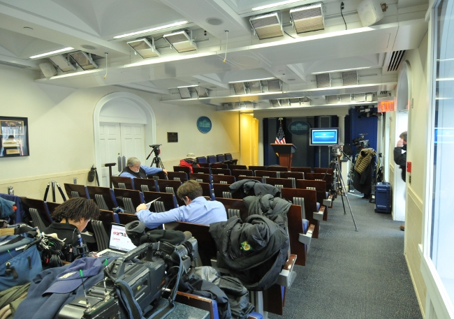 Front inside view of White House Press Briefing Room, between briefings
