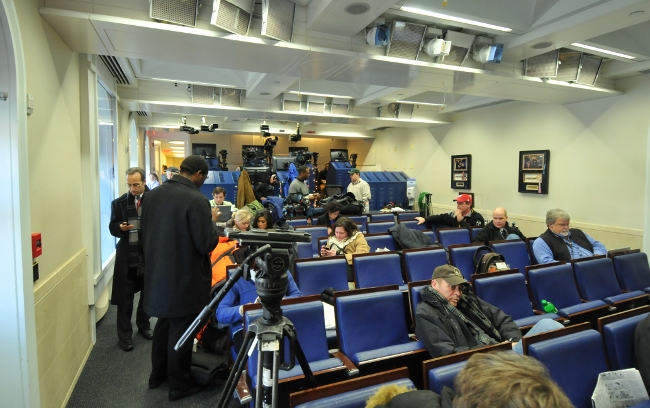 Back of White House Press Briefing Room, between briefings