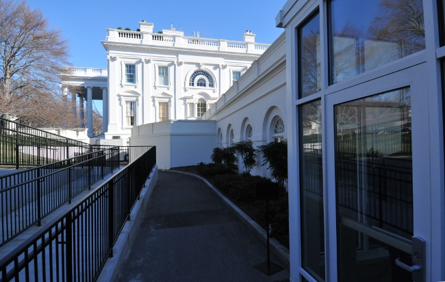 White House viewed from the entrance to the Media Briefing room and press facilities