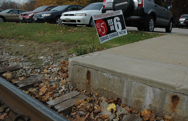 Illegal Issue 6 Sign on RTA Property in Shaker Heights