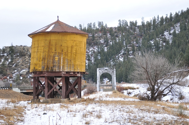 Narrow Gauge Rail Bridge and water tower on Jicarilla Apache Reservation north of Dulce, New Mexico