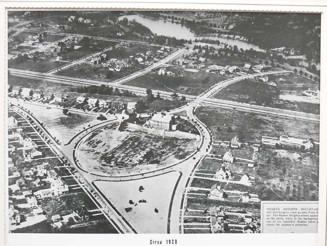 shaker heights boulevard at southington road circa 1920 aerial view with shaker lower lake van sweringen subdivision