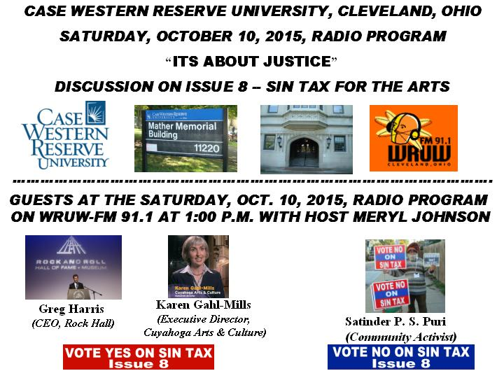 DISCUSSION ON ISSUE 8 -- SIN TAX FOR THE ARTS ON CASE