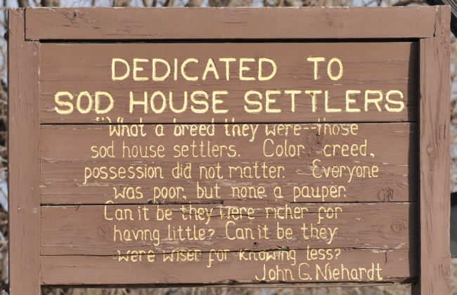 Sign at Sod House Museum, Gothenburg, Nebraska