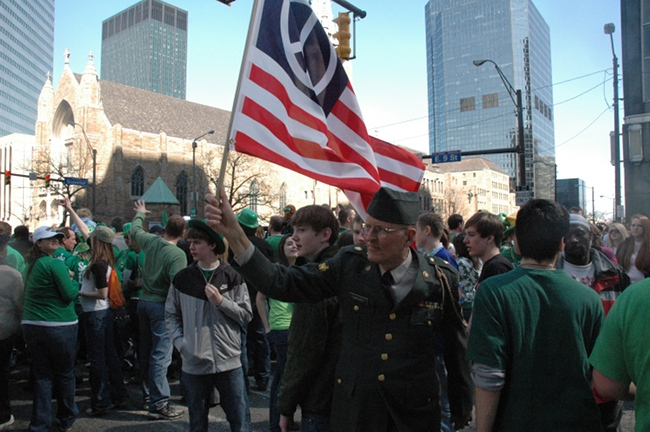 Lou Pumphrey in uniform marching with 2009 St. Patrick's Day Parade in Cleveland Ohio