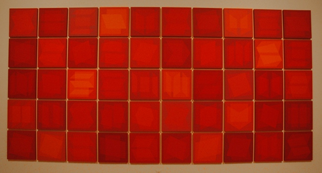 "Julian Stanczak - ""Parade of Reds"" 2006-2008 - Acrylic on wood, 50 panels, 16 inches square each"