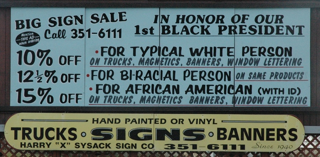 Racist sign in Cleveland Ohio