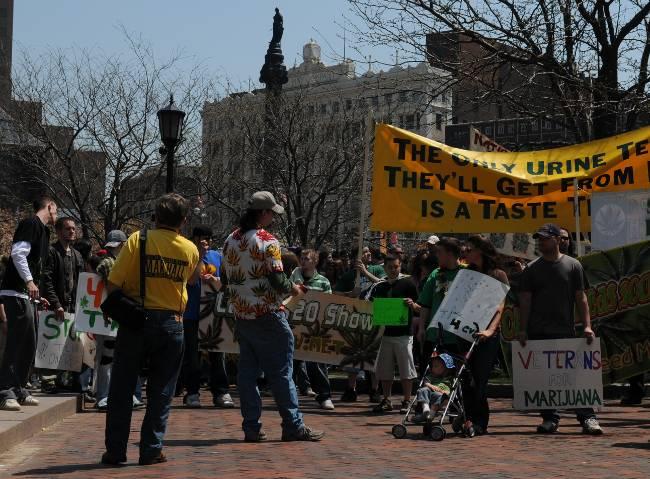 Veterans for Marijuana at start of 2011 Cleveland Medical Marijuana Rally Public Square