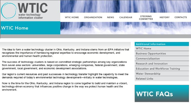 Water Technology Information Cluster website launch homepage