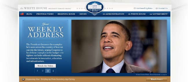 Screen Shot of White House Gov website March 2 2011