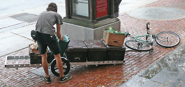 bikesatwork bike trailer with vegetables