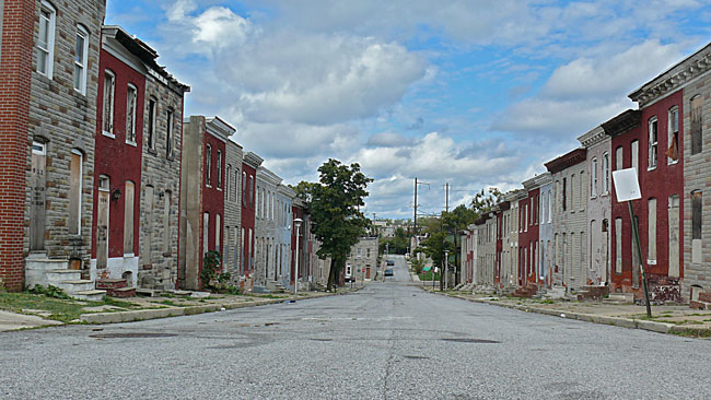 east baltimore empty steets and vacant rowhouses image jeff buster