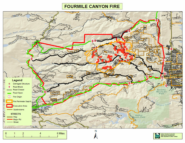 Fourmile Canyon Wildfire, West of Boulder, Colorado, September 2010 - map of Fourmile Canyon Wildfire area